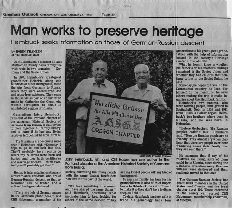 1988 Gresham Outlook featuring the Oregon Chapter President John Heimbuck